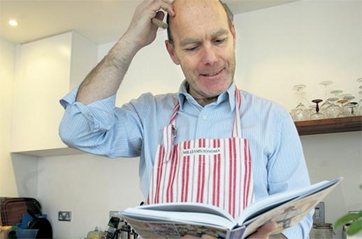 Race against time: Dave Robbins tries to get his head around some of Jamie's quickfire recipes