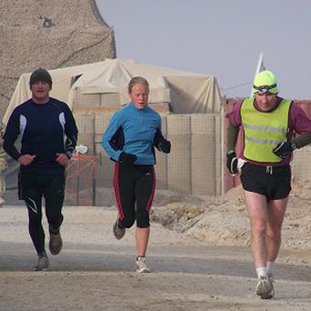 The soldiers have run 96 laps of the perimeter of their Forward Operating Base in Afghanistan