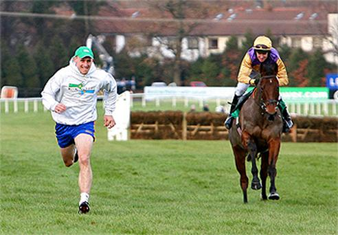 Dublin footballer Eoghan O'Gara races Brave Inca guided by Barry Geraghty to raise awareness for the charity Playing for Life, at the Leopardstown Races
