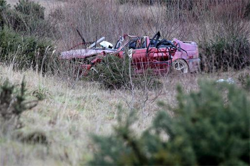 Gardai at the scene where the BMW left the road on the M1 south of Dundalk early on New Year's Day