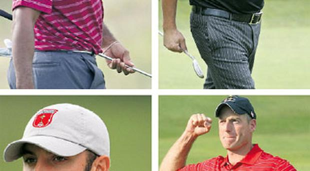 The American quartet of (clockwise from top left) Tiger Woods, Phil Mickelson, Jim Furyk and Dustin Johnson will be looking to redress the balance at the Major arena next year.