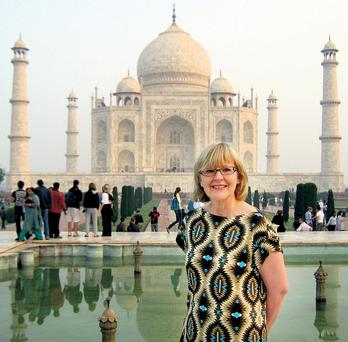 Mary O'Sullivan at the Taj Mahal, which Shah Jahan built for his wife