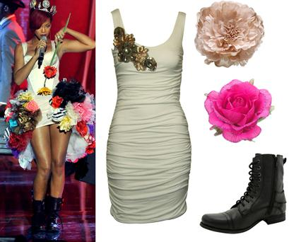 White dress redlabelfashion.com €33.80; Corsages Monsoon €10 approx; Black bootsA|wear €48.50. Photo: Getty Images