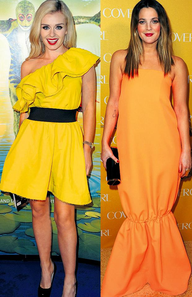 From left: Katherine Jenkins and Drew Barrymore
