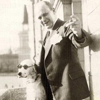 Tor Borg and his dog Jackie, which was dubbed Hitler by his wife as it raised its paw for the Nazi salute
