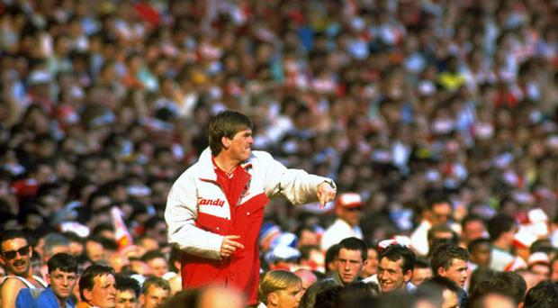 Kenny Dalglish manager of Liverpool screams to the fans during the 1989 FA Cup Final between Liverpool and Everton. Photo: Getty Images