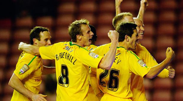 Lee Hughes of Notts County celebrates his teams second goal ith team mates during the FA Cup Sponsored by Eon 3rd Round match between Sunderland and Notts County