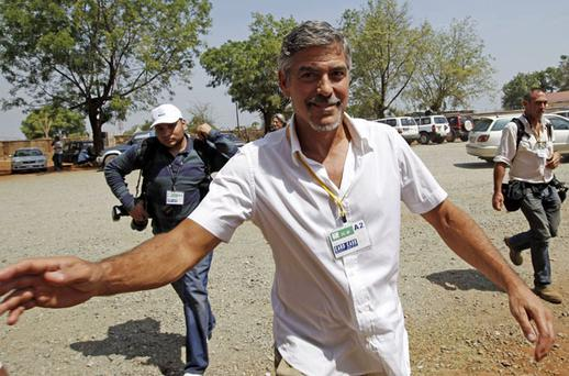 Actor and activist George Clooney, in Southern Sudan's major city, Juba, yesterday to highlight the region's independence referendum. Photo: Reuters