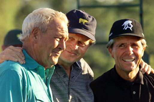 They mightn't be featuring on leaderboards any more, but Arnold Palmer, Jack Nicklaus and Gary Player are still making millions from golf.