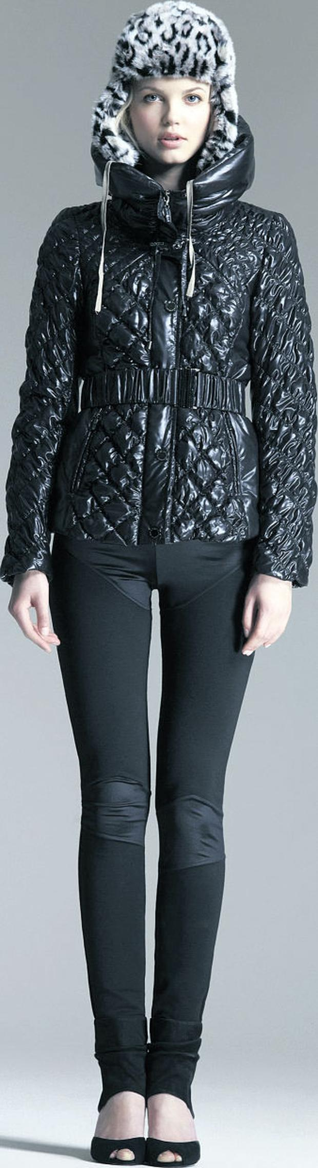 Quilted puffa, €101; leggings, €34, and snowleopard trapper hat, €31, all Star by Julien Macdonald at Debenhams.