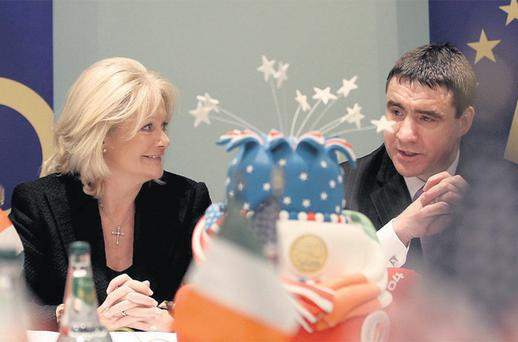 Joanne Richardson, CEO of the American Chamber of Commerce in Ireland with its new president Gerard Kilcommins. The chamber is celebrating its 50th anniversary