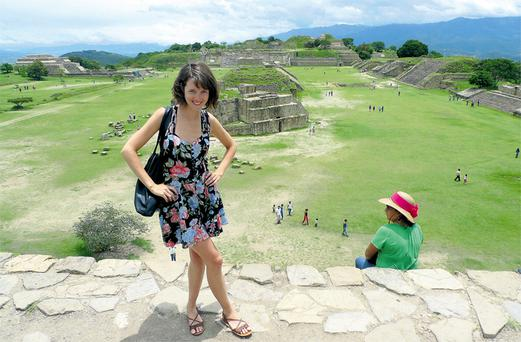 Tyler scales the steps of 2,500- year-old ruins of Monte Alban