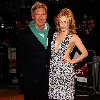 Harrison Ford and Rachel McAdams arriving at the UK premiere of Morning Glory