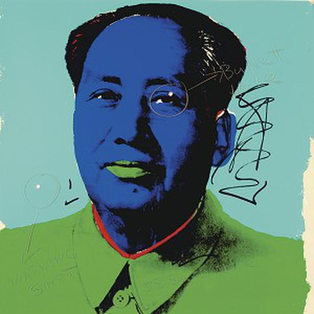 A portrait of Mao Zedong by Andy Warhol, with two bullet holes put there by Dennis Hopper.