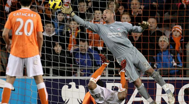 Blackpool striker DJ Campbell scores the winner past the despairing dive of Liverpool goalkeeper Pepe Reina