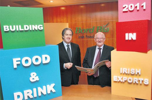Aidan Cotter (left), chief executive of Bord Bia, with chairman Dan Brown at the launch of Bord Bia's Performance and Prospects Report
