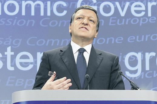 European Commission President Jose Manuel Barroso addresses a news conference on the 'Annual Growth Survey' at the EU Commission headquarters in Brussels yesterday