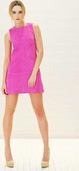 Sarah Morrissey models a Balenciaga pink sude shift dress €1,095 at a preview of Brown Thomas Spring 2011 Collections. Photo: Photocall