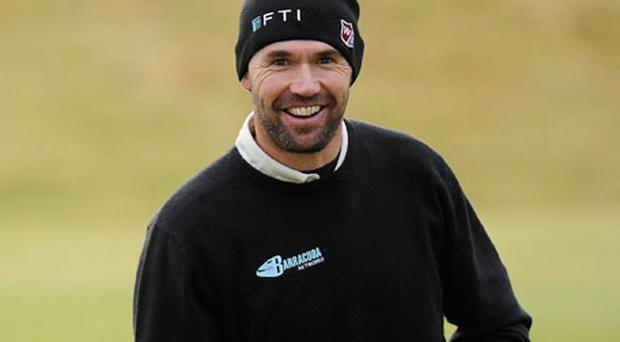 Three-time Major winner Padraig Harrington smiles during the Links Golf Society-Waterford Crystal outing at Portmarnock Hotel and Golf Links yesterday. Photo: Matt Browne / Sportsfile