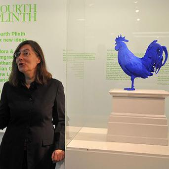 Artist Katharina Fritsch with her artwork Hahn/Cock which will take its place on the fourth plinth in 2013