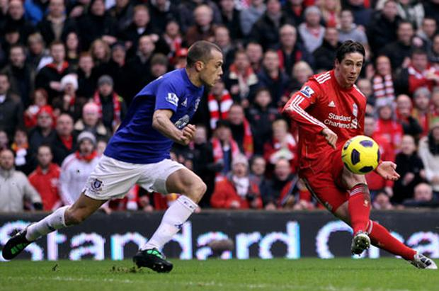 Fernando Torres goes close to scoring for Liverpool at Anfield. Photo: Getty Images