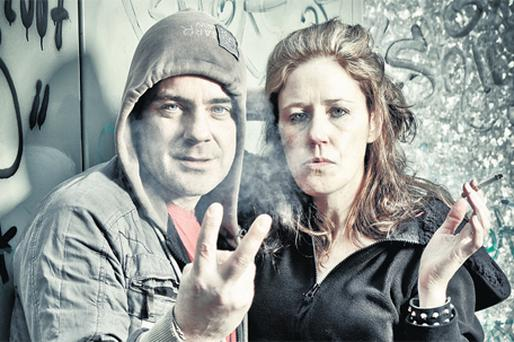 TWO FINGERS: John O'Dowd (Red) and Cora Fenton (Mary) in Mark O'Halloran's double bill