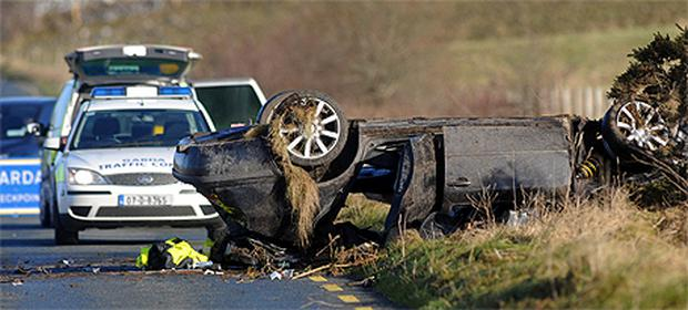 Wreckage scattered at the scene of the crash where a man (22) died on the R360 in Co Galway
