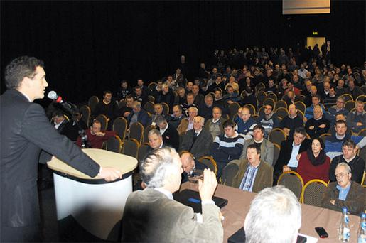Cork Co Councillor Tom Barry addresses farmers at the meeting in Cillin Hill, Kilkenny