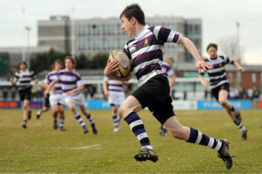 Tom O'Brien puts Terenure College on the road to victory in last year's Leinster Junior Cup final against Clongowes. Photo: Stephen McCarthy / Sportsfile