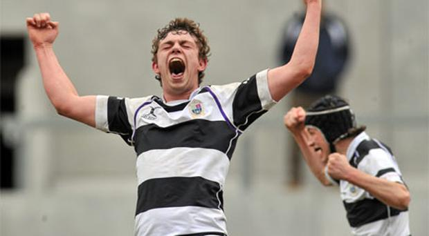 PBC joint captain David O'Mahony celebrates at the final whistle after victory over Rockwell College in last year's Munster final