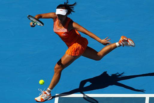 Peng Shuai of China plays a forehand on her way to beating Jelena Jankovic in the second round of the of the Australian Open. Photo: Getty Images