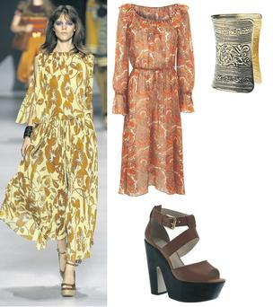 Dress. €77.17, Topshop; Brass cuff, €17.81, www.yogoego.com; 'Libby' sandals, €80.73, Topshop