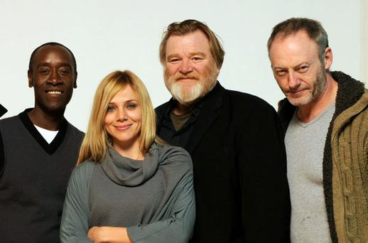 'The Guard' cast members (l-r) Don Cheadle, Katarina Cas, Brendan Gleeson and Liam Cunningham at the Sundance Film Festival in Utah yesterday where their film, starring Gleeson was premiered to a packed audience. Photo: Getty Images