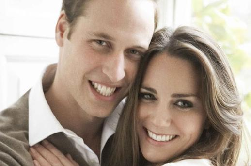 Prince William and Kate Middleton in their official engagement portrait at St James's Palace in London. Photo: Reuters