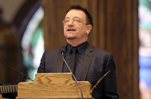 Bono sings 'Psalms 98' during the funeral service for R. Sargent Shriver in New York at the weekend. Photo: Reuters