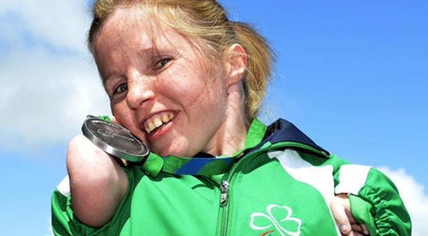 Silver lining: Catherine Wayland proudly shows off her medal. Photo: Sportsfile
