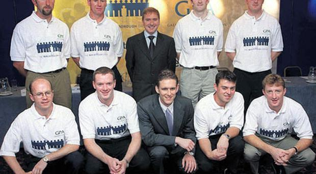 DATELINE AUGUST 2000: At the announcement of the controversial sponsorship deal between the GPA and Marlborough International, which subsequently collapsed, were - from left, back row: Brian Corcoran, Stephen Melia, Daniel McKenna (chief executive Marlborough), Jarlath Fallon, Brian Lohan. Front row: Peter Canavan, Derek Duggan, Donal O'Neill (then chief administrator of the GPA), Paul Flynn and Brian Whelahan. Photo: Ray McManus / Sportsfile