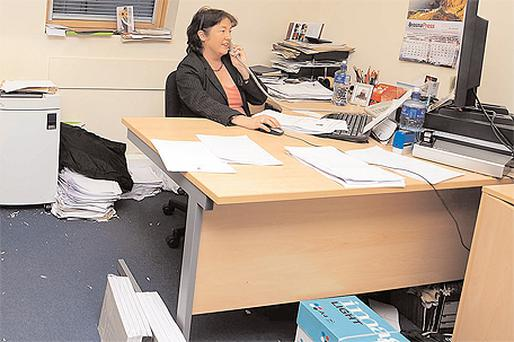 Colette Waters was busy at work in Brian Cowen's constituency office in Tullamore yesterday