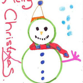 A Christmas card design by Lewis Hamilton and school children for Blue Peter's Go Cardz appeal