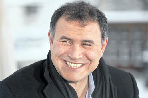 Economist Nouriel Roubini gave a characteristically downbeat assessment of the global economy during a session at the World Economic Forum in Davos. Photo: Bloomberg News