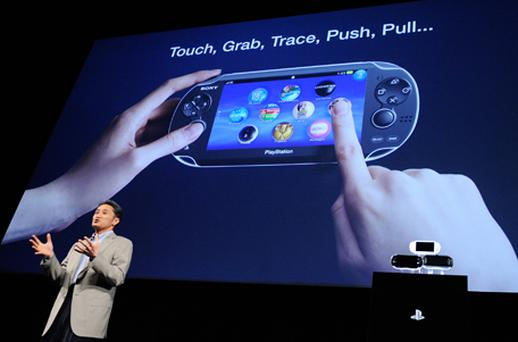 President of Sony Computer Entertainment, Kazuo Hirai, introduces the company's next generation portable entertainment device, codenamed 'NGP'. Photo: Getty Images