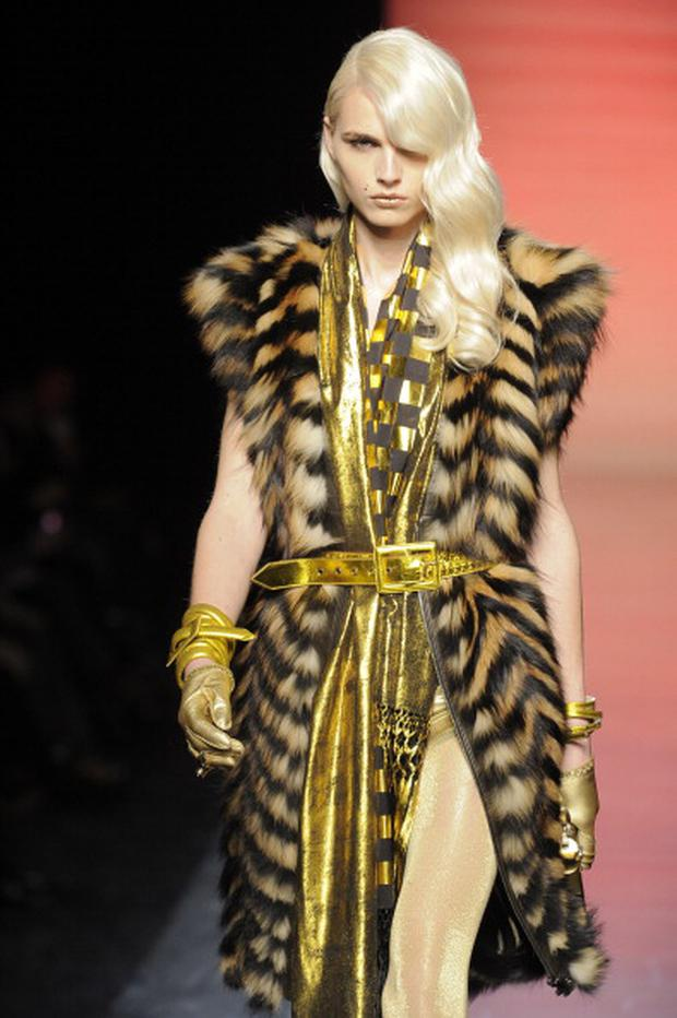A model walks the runway at the Jean Paul Gaultier menswear fashion show during Paris Fashion Menswear Week on January 20, 2011 in Paris, France.