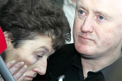 Victims' parents Bernie and Donal Cunningham leave the Central Criminal Court in Dublin yesterday
