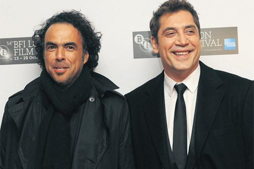 MEN IN BLACK: Biutiful director Alejandro González Iñárritu with actor Javier Bardem