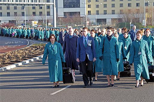 Aer Lingus cabin crew staff marched in protest of the rosters earlier this week. Photo: Collins Photo Agency