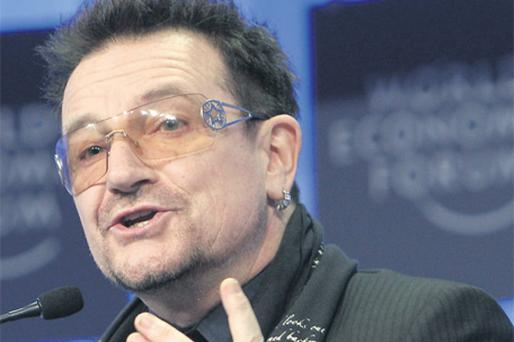 U2's Bono was airing his views at Davos yesterday where the fragility of the world economy was a common theme