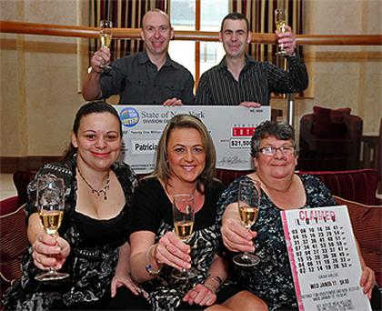 New York State Lottery winner Patricia Eisel (centre) in Tullamore, Co Offaly, with (from left) her sister Trezann, brothers Brendan and Brian and mother Margaret