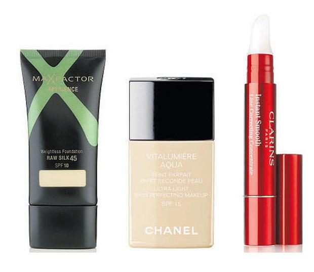 Max Factor Xperience Weightless Foundation, €19.99, all good chemist and department stores, Chanel Vitalumière Aqua, €38, Chanel counters nationwide, Clarins Instant Smooth Line Correcting Concentrate, €26, Clarins counters in department stores nationwide.