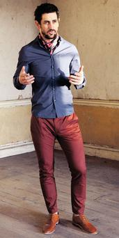 Cravat, €20; shirt, €40; skinny 'carrot' jeans, €50, and tan leather shoes, €84, all Topman