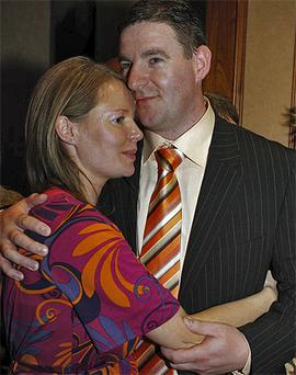 Niall Blaney pictured with wife Rosaleen in 2007 just after he had won a seat in Donegal North East
